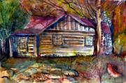 Cabin Window Drawings Posters - Autumn Cabin Poster by Mindy Newman