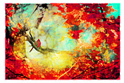 Gina Signore Digital Art - Autumn Cardinal by Gina Signore