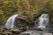 River Scenes Posters - Autumn Cascades Poster by Debra and Dave Vanderlaan