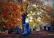 Headstones Framed Prints - Autumn Cemetery Framed Print by Cricket Hackmann