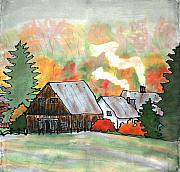 Fog Tapestries - Textiles Prints - Autumn Chill Silk Painting Print by Linda Marcille