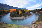 River Scenes Digital Art Prints - Autumn colors along Northern British Columbia river Print by Mark Duffy