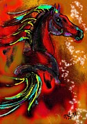 Horse Drawings Prints - Autumn Colors Print by Tarja Stegars