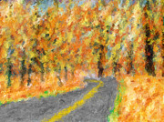 Heidi Painting Posters - Autumn Country Road Poster by Heidi Smith