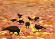 Crows Paintings - Autumn Crows by Mimi Boothby