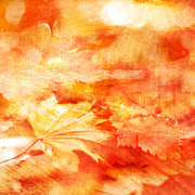 Textured Leaves Posters - Autumn Dance Poster by Linde Townsend