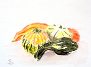 Gourds Paintings - Autumn- Decorative Gourds by Yoshiko Mishina