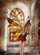 Faries Digital Art - Autumn Delight Fantasy Art by Kerry Rockwood White