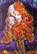 Expressionist Drawings - Autumn Display by Mary Carol Williams