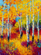 Birch Tree Metal Prints - Autumn Dreams Metal Print by Marion Rose