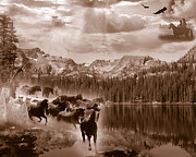 Stampede Digital Art Framed Prints - Autumn Dreams - sepia tone Framed Print by Nadene Merkitch