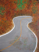 Scenic Drive Painting Posters - Autumn Drive Poster by Dawn Harrold