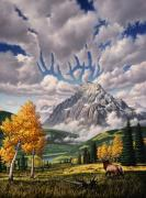 Elk Horns Painting Framed Prints - Autumn Echos Framed Print by Jerry LoFaro
