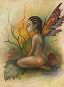 Sitting  Digital Art Posters - Autumn Fairy Poster by Caroline Jamhour