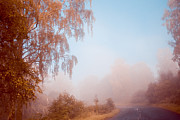Fading Prints - Autumn Fairytale. Misty Roads of Scotland  Print by Jenny Rainbow