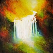 Waterfalls Painting Metal Prints - Autumn Falls Metal Print by Jaison Cianelli