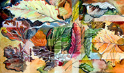 Mosaic Drawings - Autumn Falls by Mindy Newman