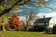 Changing Colors Prints - Autumn Farm House Print by Lara Ellis