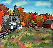 Rural Scenes Tapestries - Textiles Framed Prints - Autumn Farmstead Silk Painting Framed Print by Linda Marcille