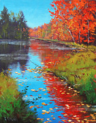 Birch River Prints - Autumn Fire Print by Graham Gercken