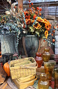 Wicker Baskets Prints - Autumn Flowers and Baskets Print by Patrice Zinck