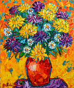 Textures And Colors Painting Prints - Autumn Flowers Gorgeous Mums - Original Oil Painting Print by Ana Maria Edulescu