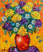 Autumn Flowers Gorgeous Mums - Original Oil Painting Print by Ana Maria Edulescu