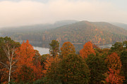 Autumn Foliage Prints - Autumn Fog at Quabbin Reservoir Print by John Burk