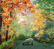 Lamb Digital Art Originals - Autumn Foliage by Eileen Blair