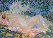 Fine Art  Of Women Paintings - Autumn by Frederick Carl Frieseke