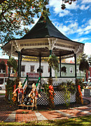 Town Square Prints - Autumn Gazebo Print by Joann Vitali