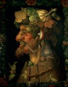 Four Seasons Framed Prints - Autumn Framed Print by Giuseppe Arcimboldo