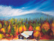 Mountain Cabin Paintings - Autumn Glory by Jerome Lawrence