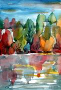 Water Reflections Drawings - Autumn Glows by Mindy Newman