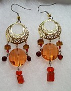 Woman Gift Jewelry - Autumn Gold Chandelier by Kristin Lewis
