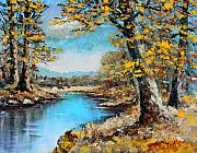 Waterscape Painting Posters - Autumn Gold Poster by Karon Melillo DeVega