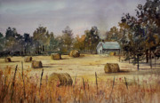 Hay Bales Painting Framed Prints - Autumn Gold Framed Print by Ryan Radke
