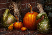 Autumn Scenes Posters - Autumn - Gourd - Family get together Poster by Mike Savad