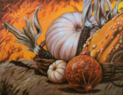 Gourds Paintings - Autumn Gourds by Blake Downing