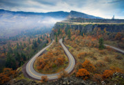 Fall Road Photos - Autumn Hairpin Turn by Mike  Dawson