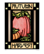Relief Print Digital Art Posters - Autumn Harvest 1 Poster by Lynn Evenson