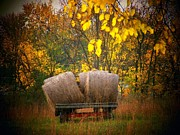 Hay Wagon Framed Prints - Autumn Hay Wagon Framed Print by Joyce L Kimble