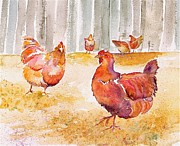 Animals Tapestries - Textiles Prints - Autumn Hens Print by Carolyn Doe