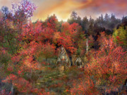 Autumn Scene Mixed Media Prints - Autumn Hideaway Print by Carol Cavalaris