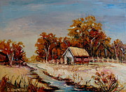 Laurentians Paintings - Autumn House By The Stream by Carole Spandau