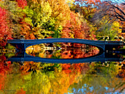 Landscapes Paintings - Autumn Impression of Bow Bridge -Central Park by Rodger Underwood