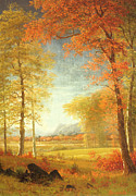 Signed Painting Framed Prints - Autumn in America Framed Print by Albert Bierstadt