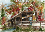 Split Rail Fence Originals - Autumn in Knoebels Grove  by Nancy Patterson
