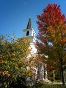 White Church Prints - Autumn in Long Grove Print by Julie Palencia