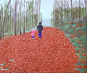 Outsider Art Paintings - Autumn in Mullaghmeen Forest by Eamon Reilly